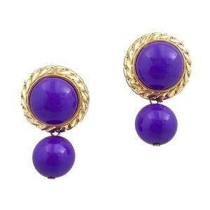 Jewelry - Vintage Purple Round Dangle Earrings Gold Tone
